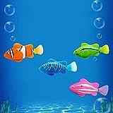 XUNQI Roboter Schwimmen Fisch 4 Stück Batteriebetriebene elektrische Schwimmen Tauchen schwimmende Wasser aktiviert Clown Fisch Roboter Fisch im Wasser magische elektronische Spielzeug Kinder